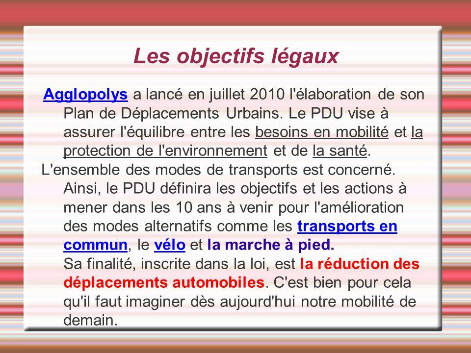 Les objectifs légaux Agglopolys a lancé en juillet 2010 l élaboration de son Plan de Déplacements Urbains.