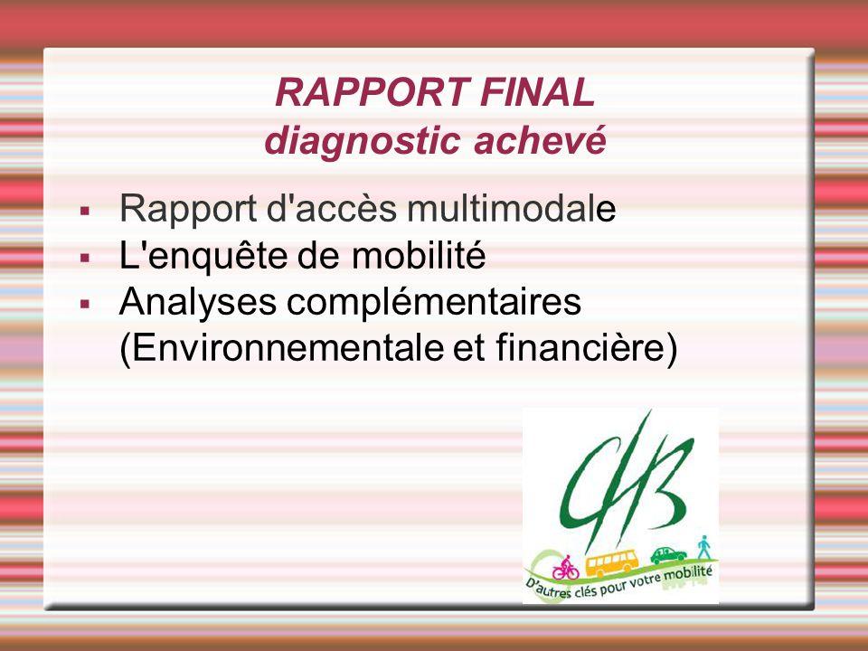 RAPPORT FINAL diagnostic achevé Rapport d accès multimodale L enquête de mobilité Analyses complémentaires (Environnementale et financière)