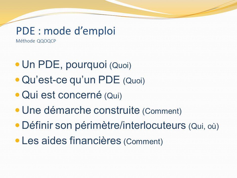 PDE : mode demploi Méthode QQOQCP Un PDE, pourquoi (Quoi) Quest-ce quun PDE (Quoi) Qui est concerné (Qui) Une démarche construite (Comment) Définir son périmètre/interlocuteurs (Qui, où) Les aides financières (Comment)