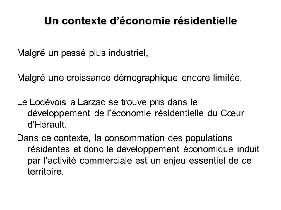 Un contexte déconomie résidentielle Malgré un passé plus industriel, Malgré une croissance démographique encore limitée, Le Lodévois a Larzac se trouve pris dans le développement de léconomie résidentielle du Cœur dHérault.