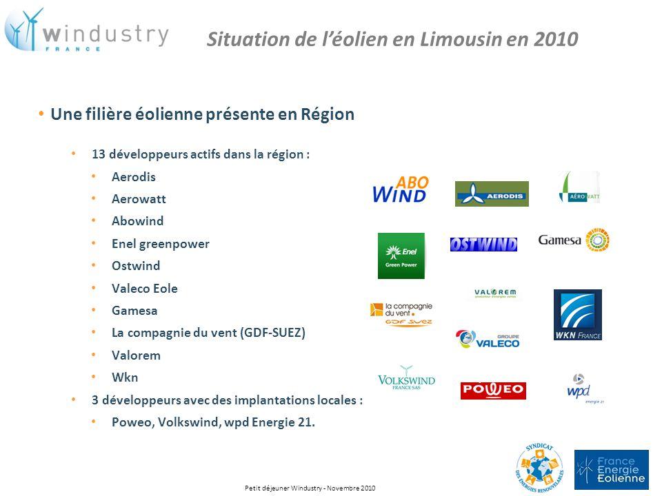 Une filière éolienne présente en Région 13 développeurs actifs dans la région : Aerodis Aerowatt Abowind Enel greenpower Ostwind Valeco Eole Gamesa La