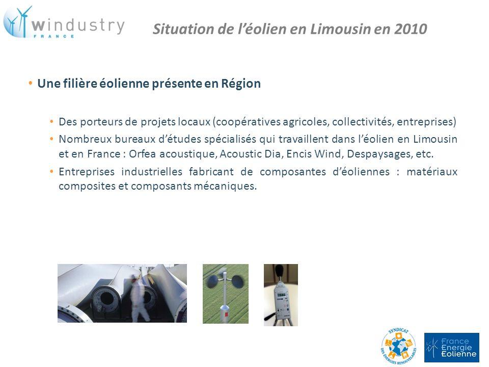 Une filière éolienne présente en Région Des porteurs de projets locaux (coopératives agricoles, collectivités, entreprises) Nombreux bureaux détudes s