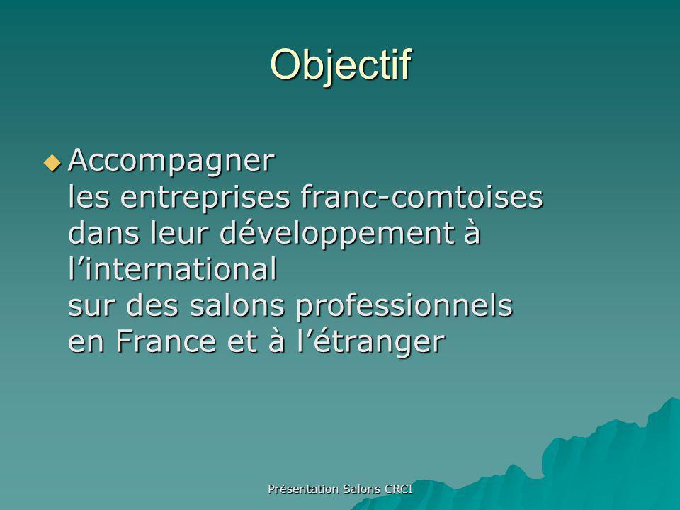 Présentation Salons CRCI Objectif Accompagner les entreprises franc-comtoises dans leur développement à linternational sur des salons professionnels en France et à létranger Accompagner les entreprises franc-comtoises dans leur développement à linternational sur des salons professionnels en France et à létranger