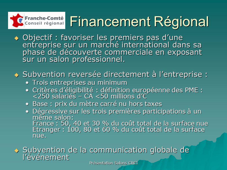 Présentation Salons CRCI Financement Régional Objectif : favoriser les premiers pas dune entreprise sur un marché international dans sa phase de découverte commerciale en exposant sur un salon professionnel.
