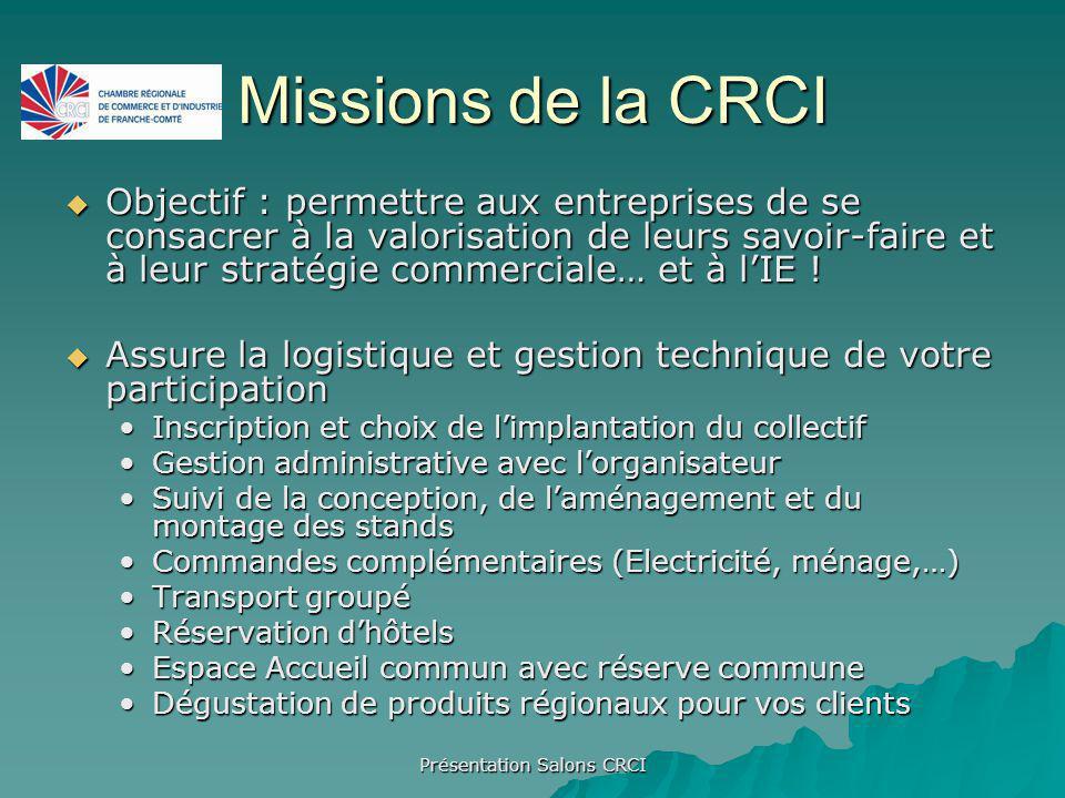 Présentation Salons CRCI Missions de la CRCI Objectif : permettre aux entreprises de se consacrer à la valorisation de leurs savoir-faire et à leur stratégie commerciale… et à lIE .