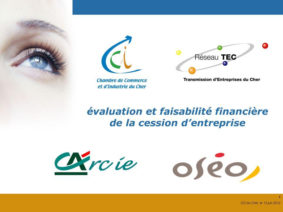 1 CCI du Cher, le 13 juin 2012 évaluation et faisabilité financière de la cession dentreprise 1 CCI du Cher, le 13 juin 2012