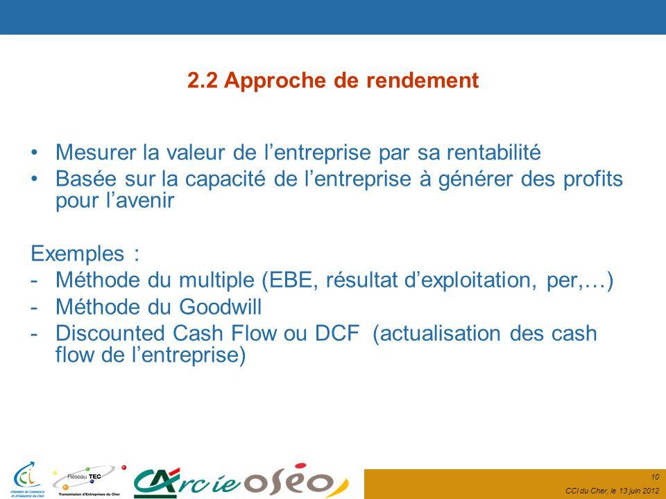 10 CCI du Cher, le 13 juin 2012 2.2 Approche de rendement Mesurer la valeur de lentreprise par sa rentabilité Basée sur la capacité de lentreprise à générer des profits pour lavenir Exemples : -Méthode du multiple (EBE, résultat dexploitation, per,…) -Méthode du Goodwill -Discounted Cash Flow ou DCF (actualisation des cash flow de lentreprise)