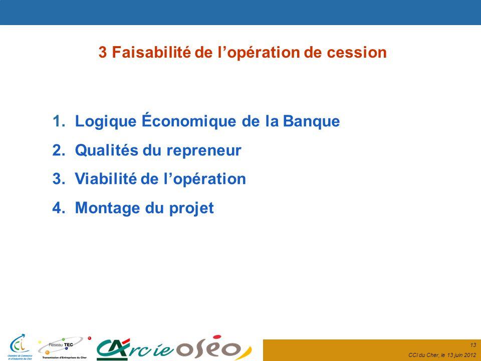 13 CCI du Cher, le 13 juin 2012 1. Logique Économique de la Banque 2.