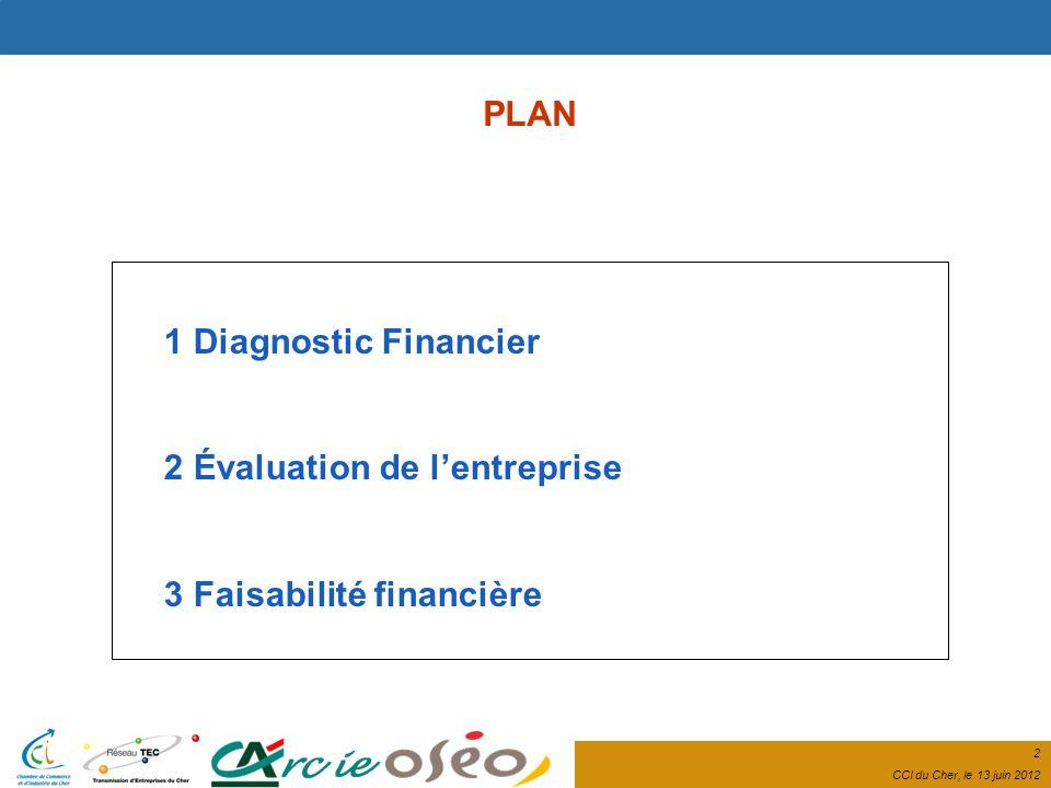 2 CCI du Cher, le 13 juin 2012 PLAN 1 Diagnostic Financier 2 Évaluation de lentreprise 3 Faisabilité financière
