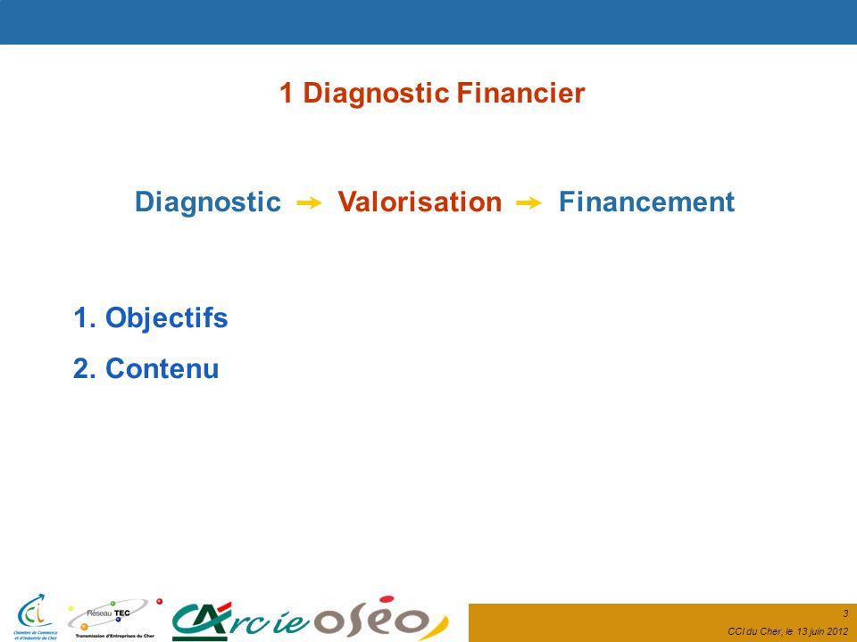 3 CCI du Cher, le 13 juin 2012 1 Diagnostic Financier Diagnostic Valorisation Financement 1.Objectifs 2.Contenu