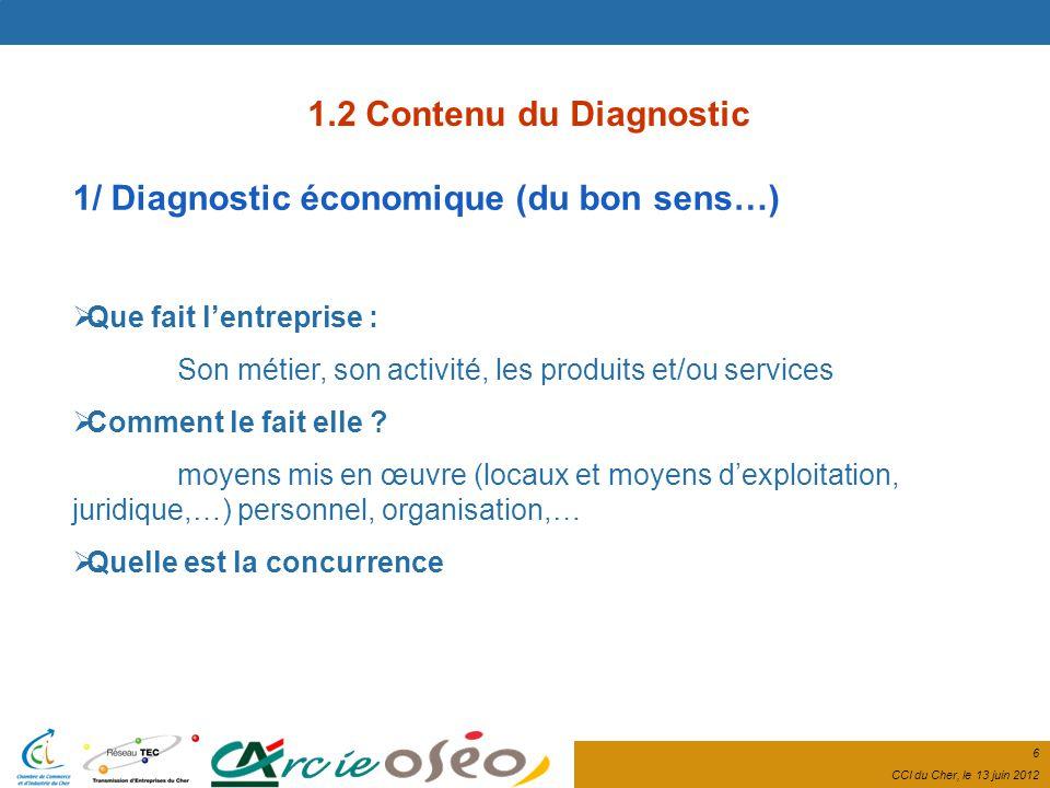6 CCI du Cher, le 13 juin 2012 1.2 Contenu du Diagnostic 1/ Diagnostic économique (du bon sens…) Que fait lentreprise : Son métier, son activité, les produits et/ou services Comment le fait elle .