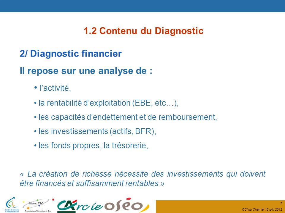 7 CCI du Cher, le 13 juin 2012 2/ Diagnostic financier Il repose sur une analyse de : lactivité, la rentabilité dexploitation (EBE, etc…), les capacités dendettement et de remboursement, les investissements (actifs, BFR), les fonds propres, la trésorerie, « La création de richesse nécessite des investissements qui doivent être financés et suffisamment rentables » 1.2 Contenu du Diagnostic