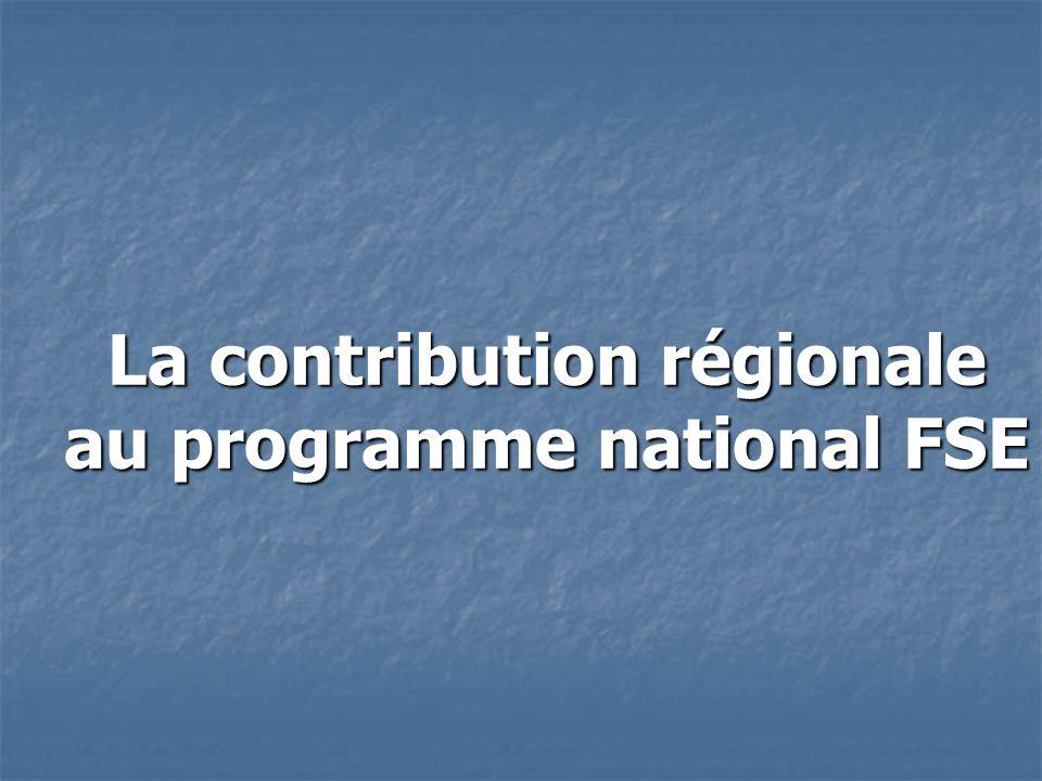 La contribution régionale au programme national FSE La contribution régionale au programme national FSE