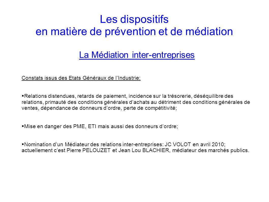 Les dispositifs en matière de prévention et de médiation La Médiation inter-entreprises Constats issus des Etats Généraux de lIndustrie: Relations dis