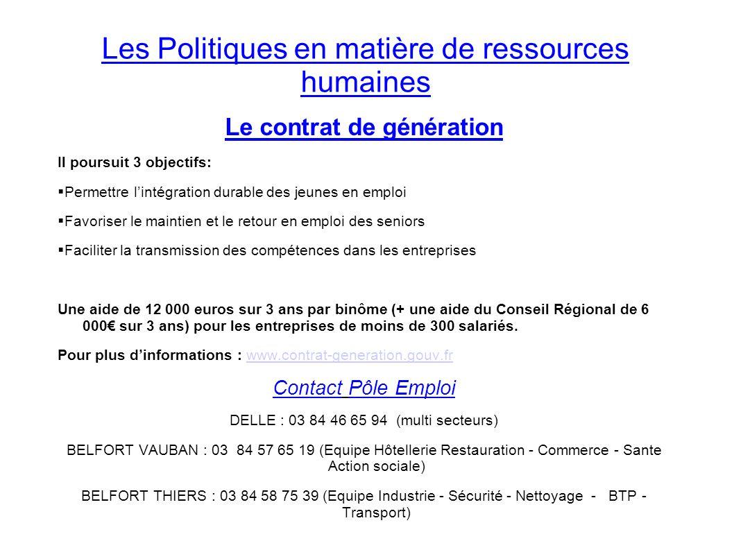Les Politiques en matière de ressources humaines Le contrat de génération Il poursuit 3 objectifs: Permettre lintégration durable des jeunes en emploi