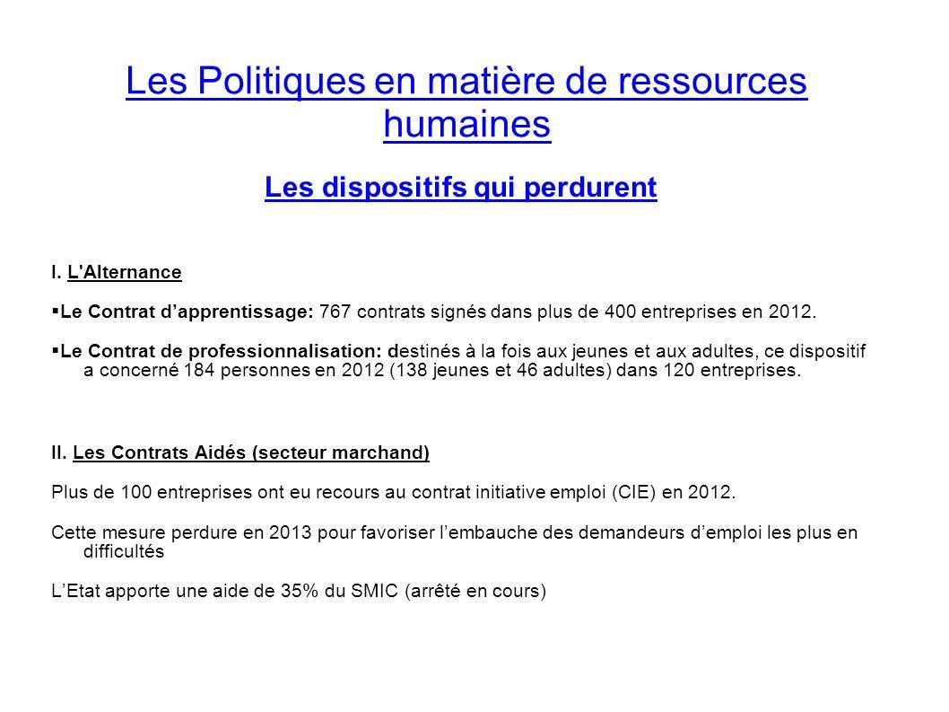 Les Politiques en matière de ressources humaines Les dispositifs qui perdurent I. L'Alternance Le Contrat dapprentissage: 767 contrats signés dans plu