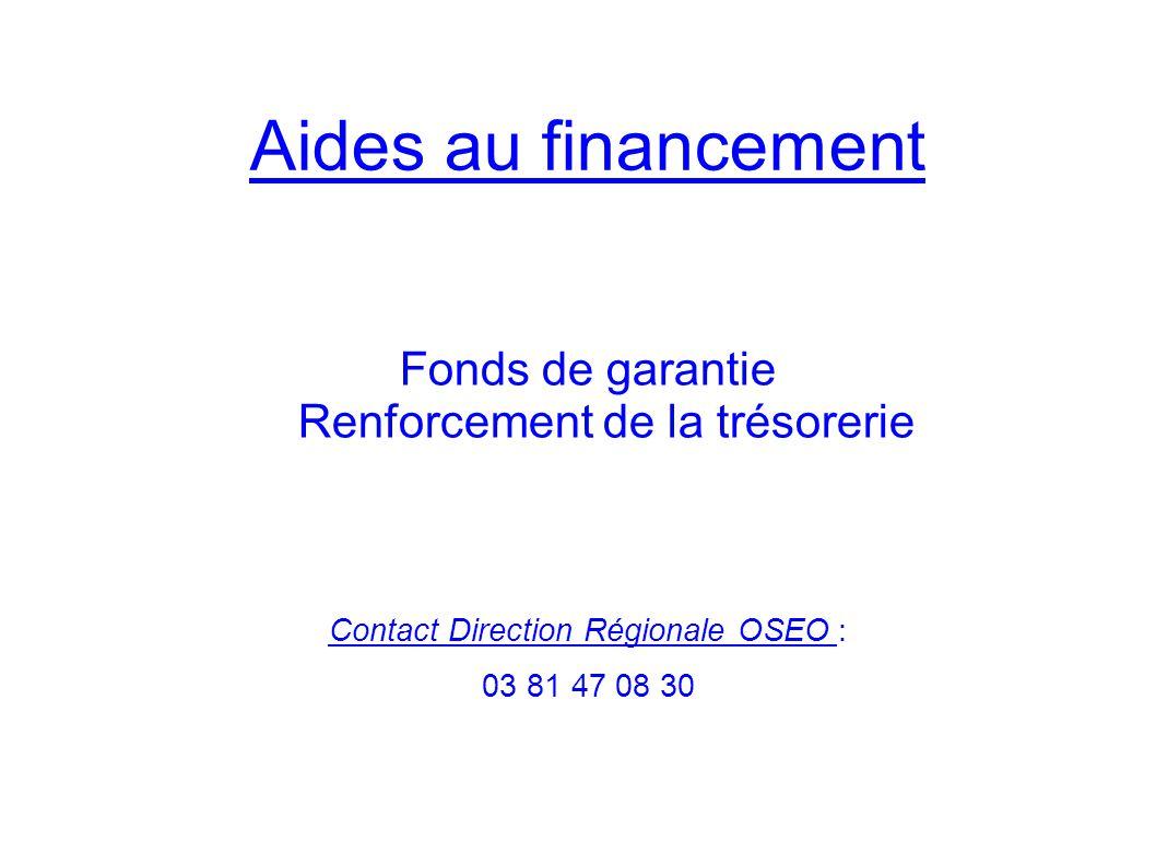 Fonds de garantie OSEO - Réservé uniquement aux PME - Garantie jusquà 70 % des prêts bancaires de trésorerie de 2 à 7 ans - Uniquement problèmes conjoncturels entreprises saines et viables - En 2009/2010 garantie de prêts de trésorerie : Franche Comté T de Belfort Dossiers : 800 100 Montant : 240 M 12 M