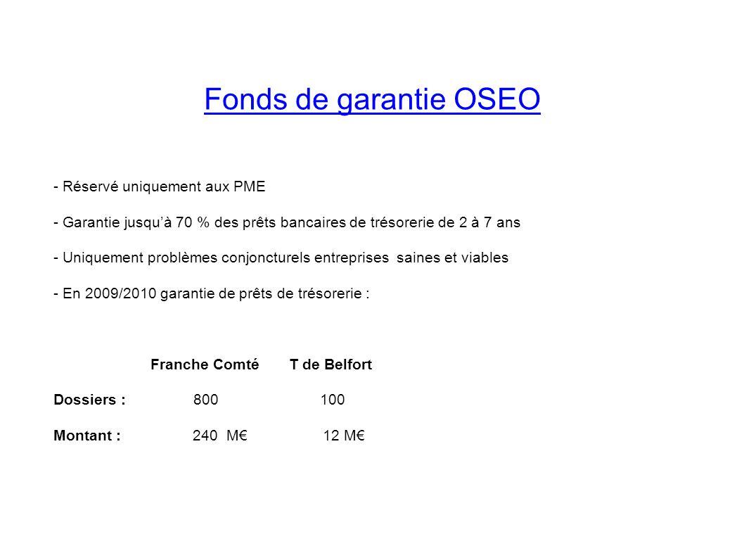 Fonds de garantie OSEO - Réservé uniquement aux PME - Garantie jusquà 70 % des prêts bancaires de trésorerie de 2 à 7 ans - Uniquement problèmes conjo