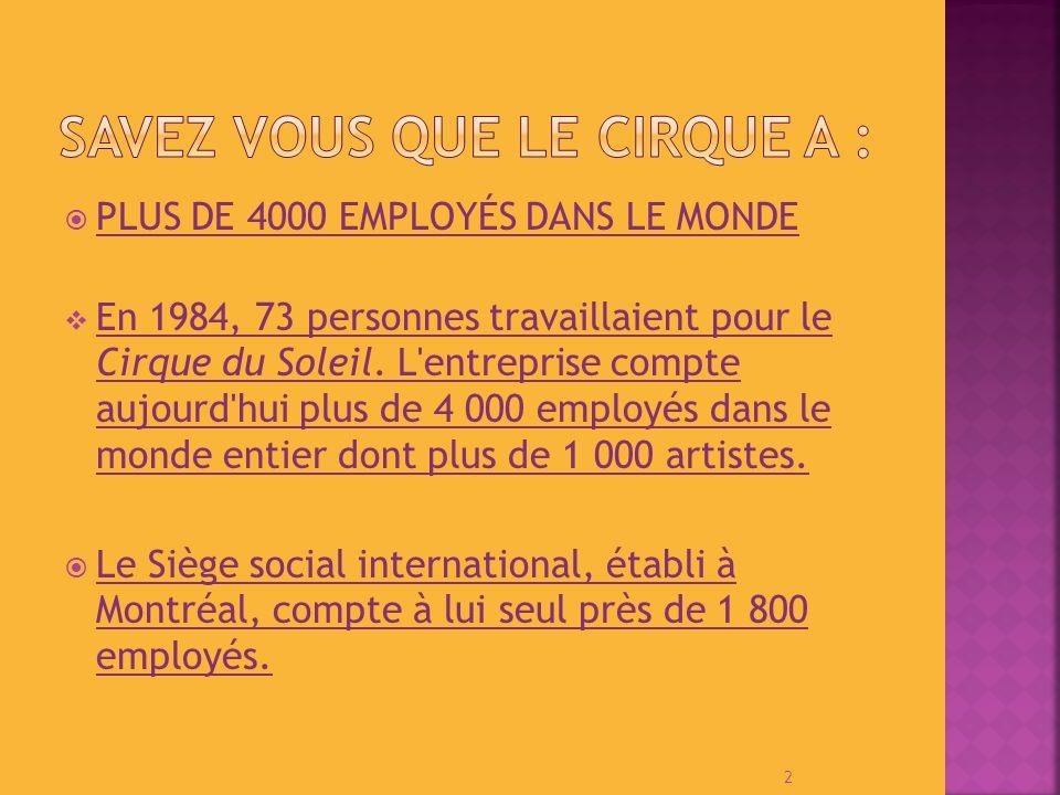 PLUS DE 4000 EMPLOYÉS DANS LE MONDE En 1984, 73 personnes travaillaient pour le Cirque du Soleil.