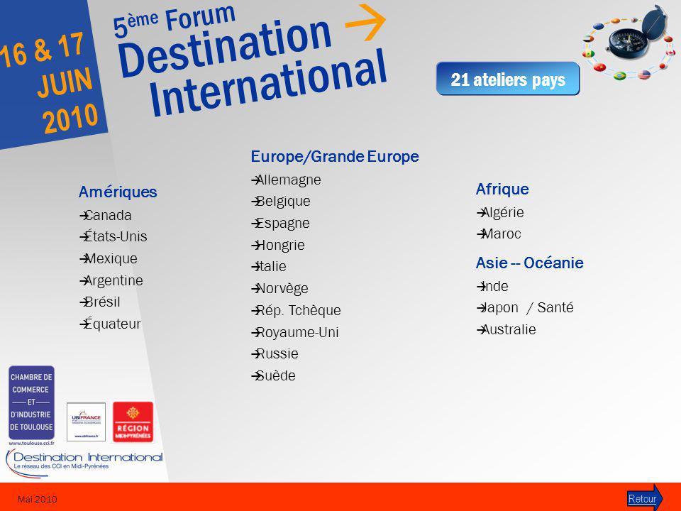 5 ème Forum Destination International 16 & 17 JUIN 2010 Mai 2010 Europe/Grande Europe Allemagne Belgique Espagne Hongrie Italie Norvège Rép.