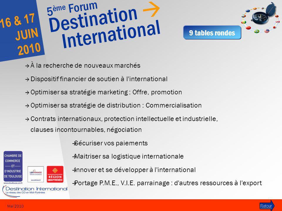 5 ème Forum Destination International 16 & 17 JUIN 2010 Mai 2010 À la recherche de nouveaux marchés Dispositif financier de soutien à l'international