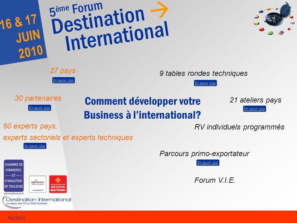 5 ème Forum Destination International 16 & 17 JUIN 2010 Mai 2010 9 tables rondes techniques 21 ateliers pays RV individuels programmés Parcours primo-