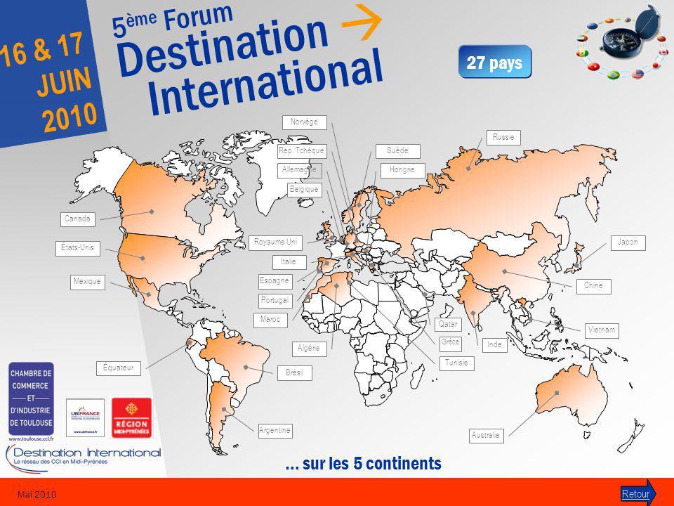 5 ème Forum Destination International 16 & 17 JUIN 2010 Mai 2010 Retour 27 pays … sur les 5 continents