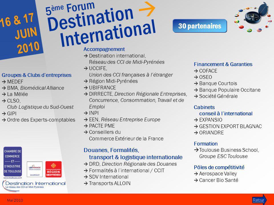 5 ème Forum Destination International 16 & 17 JUIN 2010 Mai 2010 30 partenaires Retour Accompagnement Destination international, Réseau des CCI de Mid