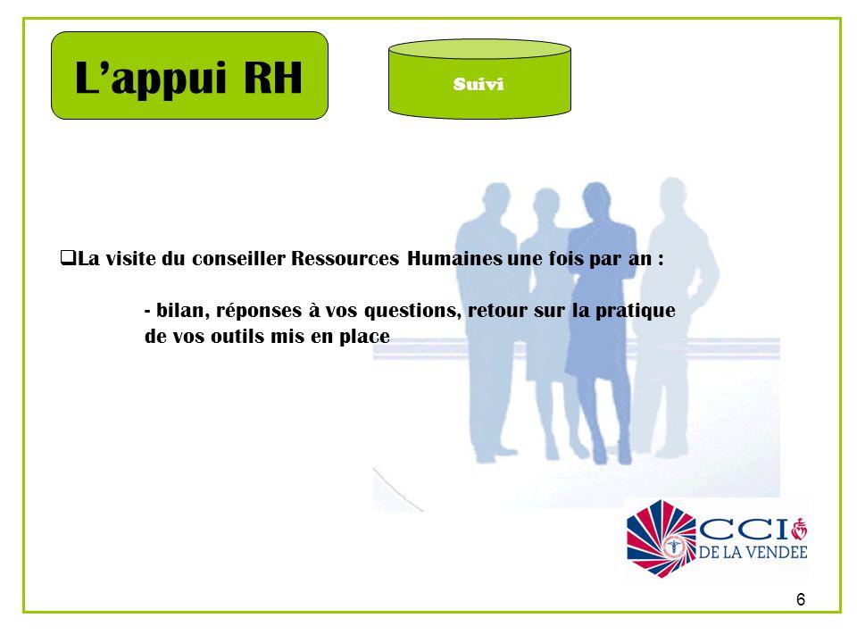 6 Suivi Lappui RH La visite du conseiller Ressources Humaines une fois par an : - bilan, réponses à vos questions, retour sur la pratique de vos outil
