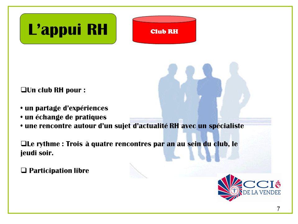 7 Club RH Lappui RH Un club RH pour : un partage dexpériences un échange de pratiques une rencontre autour dun sujet dactualité RH avec un spécialiste