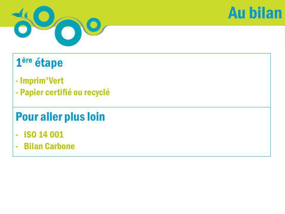 Au bilan Pour aller plus loin - ISO 14 001 - Bilan Carbone 1 ère étape - Imprim'Vert - Papier certifié ou recyclé