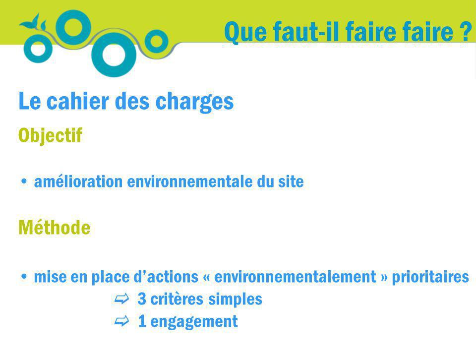 Que faut-il faire faire ? Le cahier des charges Objectif amélioration environnementale du site Méthode mise en place dactions « environnementalement »