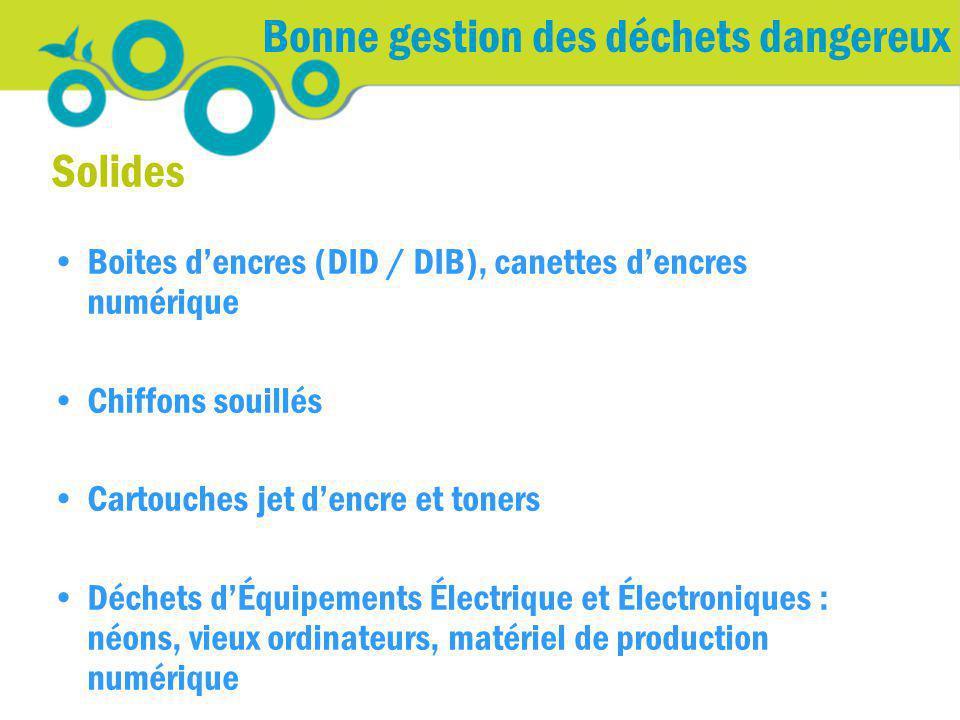 Bonne gestion des déchets dangereux Solides Boites dencres (DID / DIB), canettes dencres numérique Chiffons souillés Cartouches jet dencre et toners D