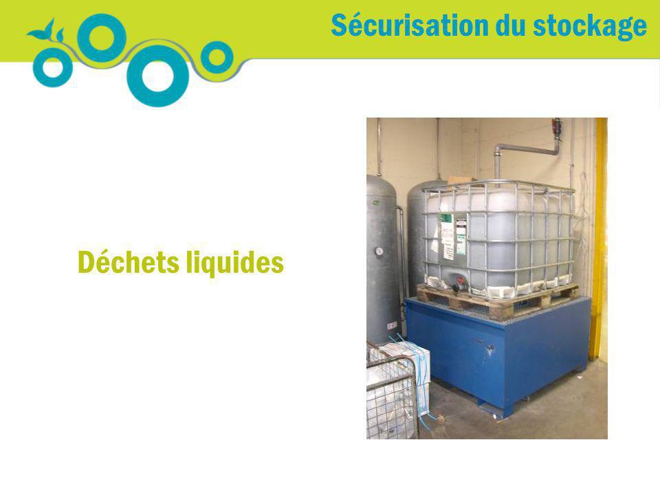 Déchets liquides Sécurisation du stockage