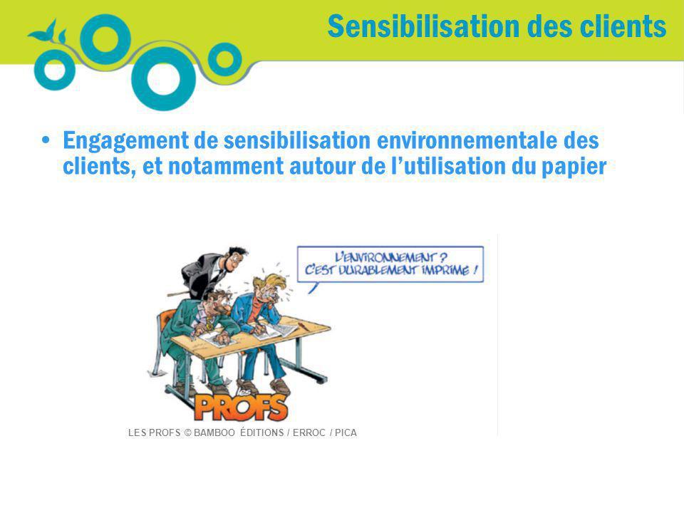Sensibilisation des clients Engagement de sensibilisation environnementale des clients, et notamment autour de lutilisation du papier LES PROFS © BAMB