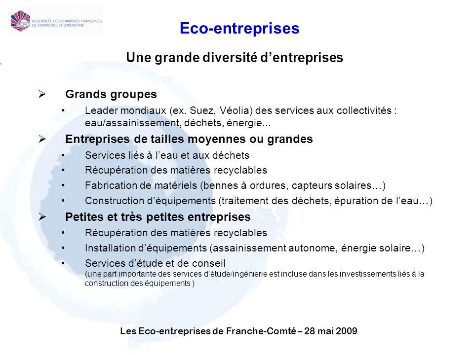 Les Eco-entreprises de Franche-Comté – 28 mai 2009 Eco-entreprises Une grande diversité dentreprises Grands groupes Leader mondiaux (ex.