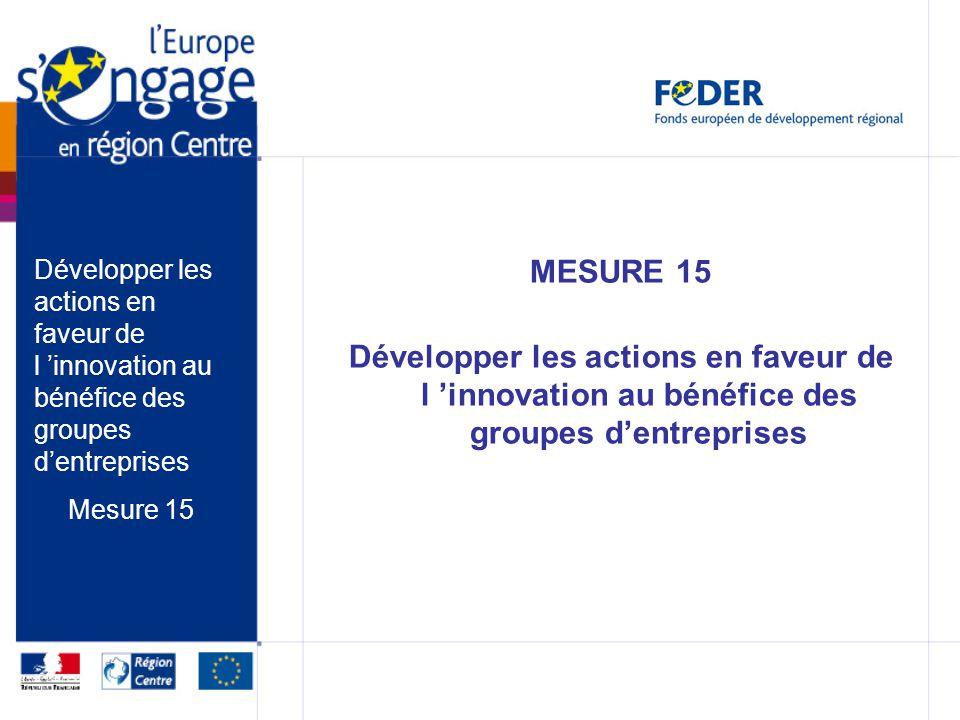 MESURE 15 Développer les actions en faveur de l innovation au bénéfice des groupes dentreprises Mesure 15