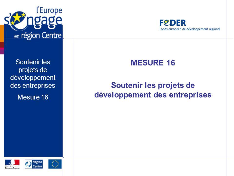MESURE 16 Soutenir les projets de développement des entreprises Mesure 16