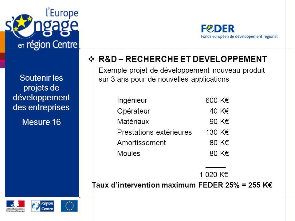 R&D – RECHERCHE ET DEVELOPPEMENT Exemple projet de développement nouveau produit sur 3 ans pour de nouvelles applications Ingénieur600 K Opérateur 40