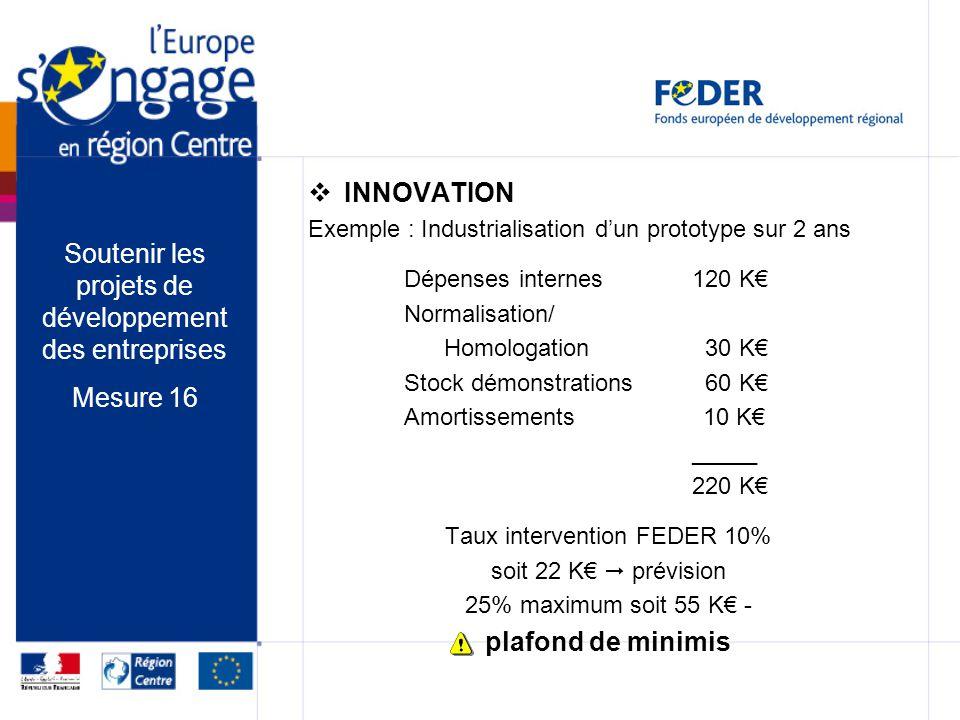 INNOVATION Exemple : Industrialisation dun prototype sur 2 ans Dépenses internes120 K Normalisation/ Homologation 30 K Stock démonstrations 60 K Amort