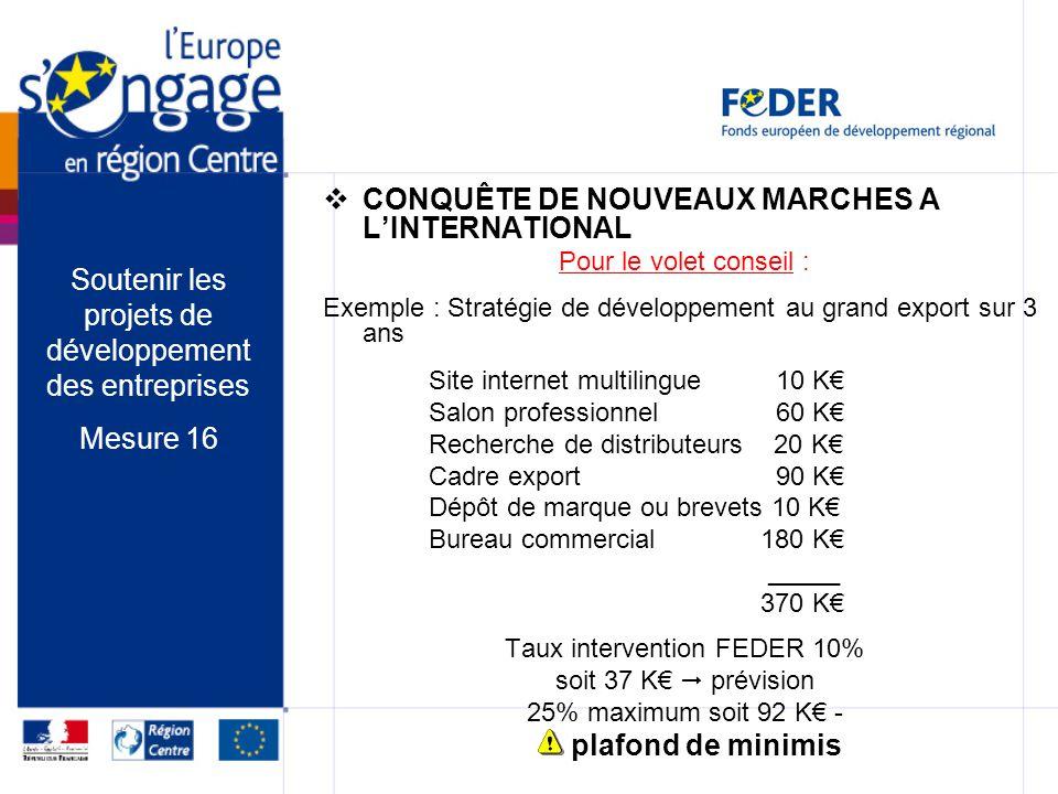 CONQUÊTE DE NOUVEAUX MARCHES A LINTERNATIONAL Pour le volet conseil : Exemple : Stratégie de développement au grand export sur 3 ans Site internet mul