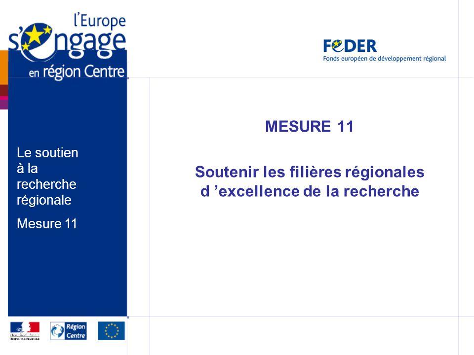 MESURE 11 Soutenir les filières régionales d excellence de la recherche Le soutien à la recherche régionale Mesure 11