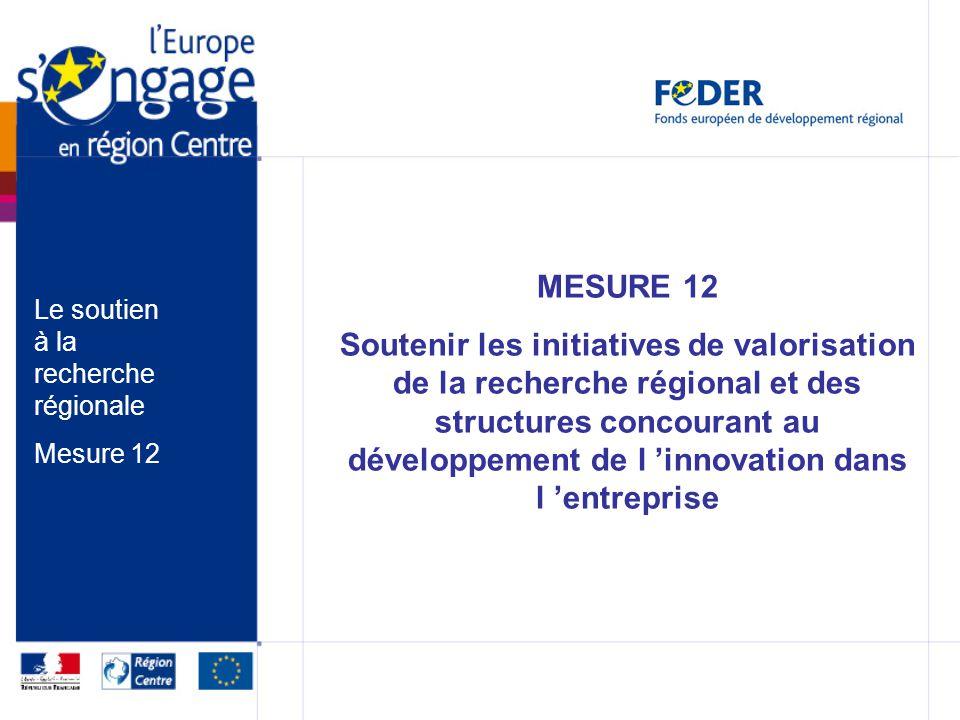 MESURE 12 Soutenir les initiatives de valorisation de la recherche régional et des structures concourant au développement de l innovation dans l entre