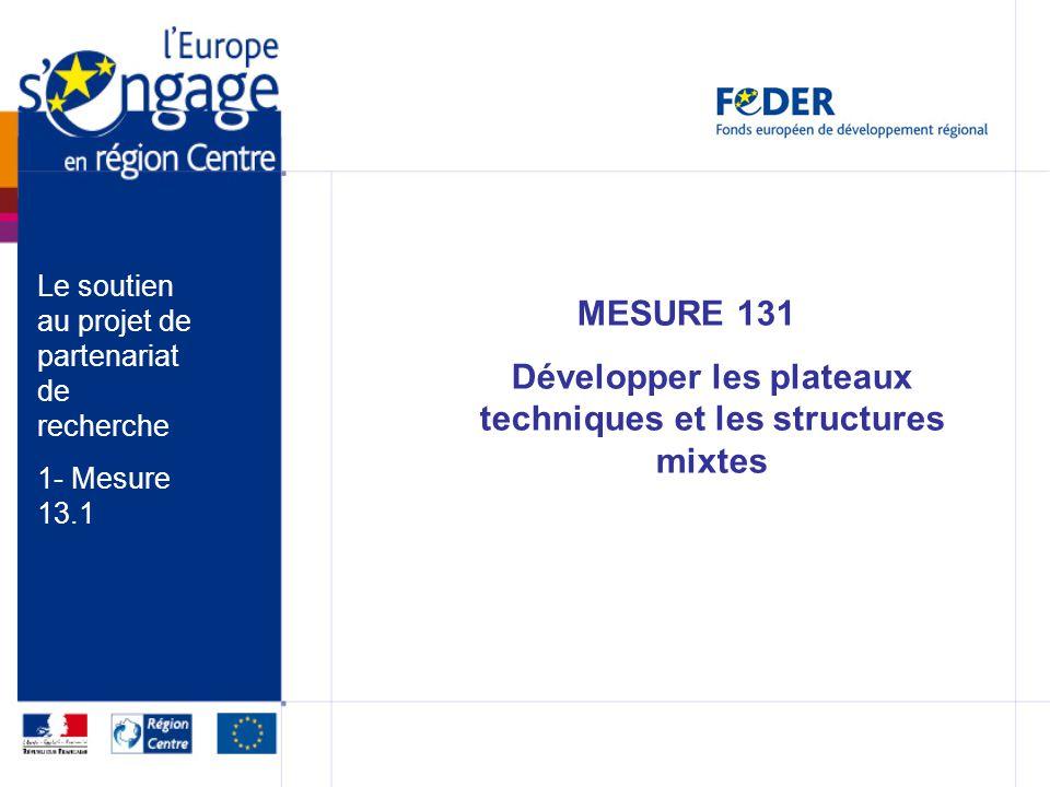 MESURE 131 Développer les plateaux techniques et les structures mixtes Le soutien au projet de partenariat de recherche 1- Mesure 13.1