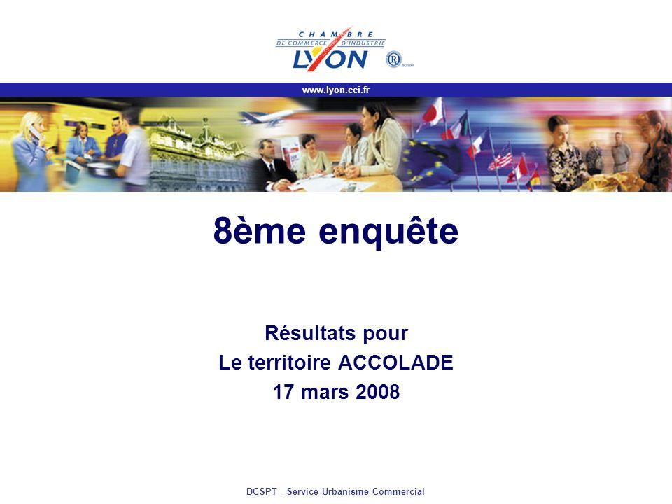 www.lyon.cci.fr DCSPT - Service Urbanisme Commercial 8ème enquête Résultats pour Le territoire ACCOLADE 17 mars 2008