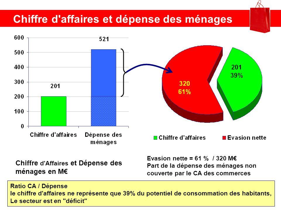 Chiffre d'affaires et dépense des ménages Chiffre d'Affaires et Dépense des ménages en M Evasion nette = 61 % / 320 M Part de la dépense des ménages n