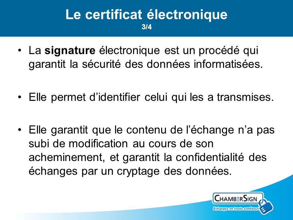 La signature électronique est un procédé qui garantit la sécurité des données informatisées. Elle permet didentifier celui qui les a transmises. Elle
