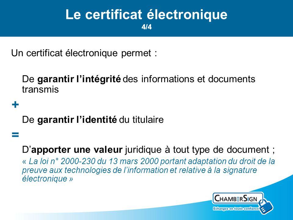 Le certificat électronique 4/4 Un certificat électronique permet : De garantir lintégrité des informations et documents transmis + De garantir lidenti
