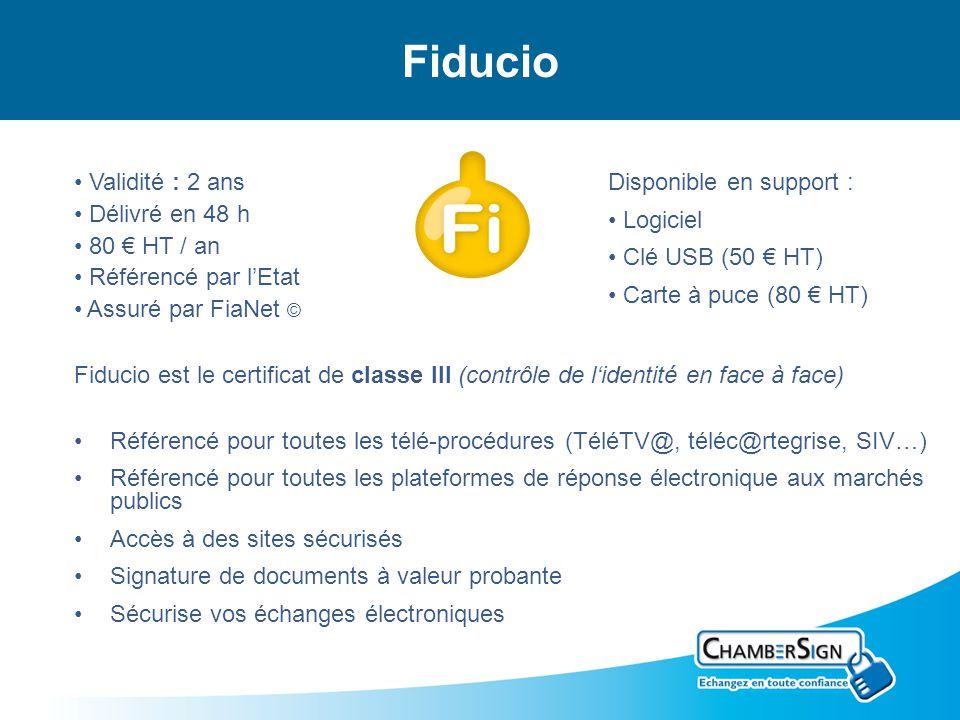 Fiducio Fiducio est le certificat de classe III (contrôle de lidentité en face à face) Référencé pour toutes les télé-procédures (TéléTV@, téléc@rtegr