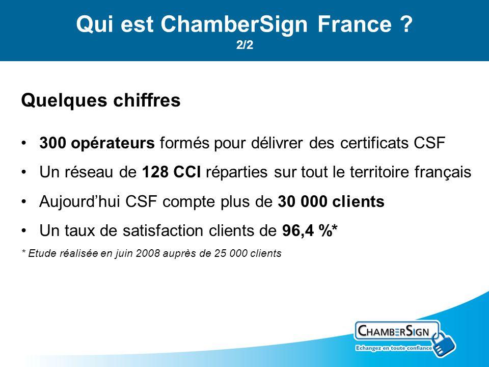 Quelques chiffres 300 opérateurs formés pour délivrer des certificats CSF Un réseau de 128 CCI réparties sur tout le territoire français Aujourdhui CSF compte plus de 30 000 clients Un taux de satisfaction clients de 96,4 %* * Etude réalisée en juin 2008 auprès de 25 000 clients Qui est ChamberSign France .